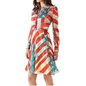 CATHARINE MALANDRINO AMERICAN FLAG LONG/SLEV DRESS